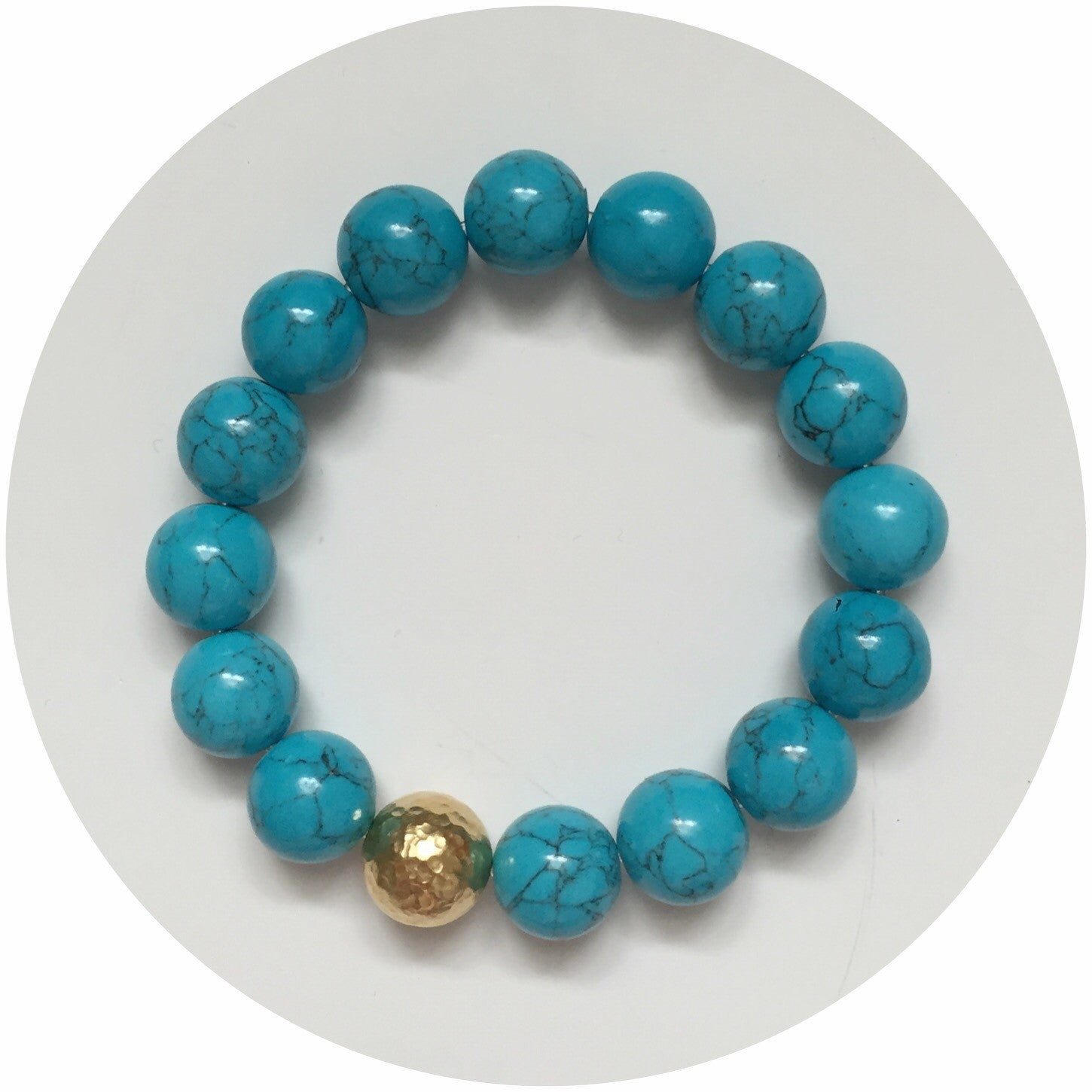 Blue Howlite with Gold Hammered Accent - Oriana Lamarca LLC