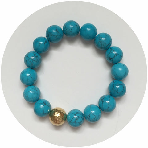 Blue Howlite with Gold Hammered Accent