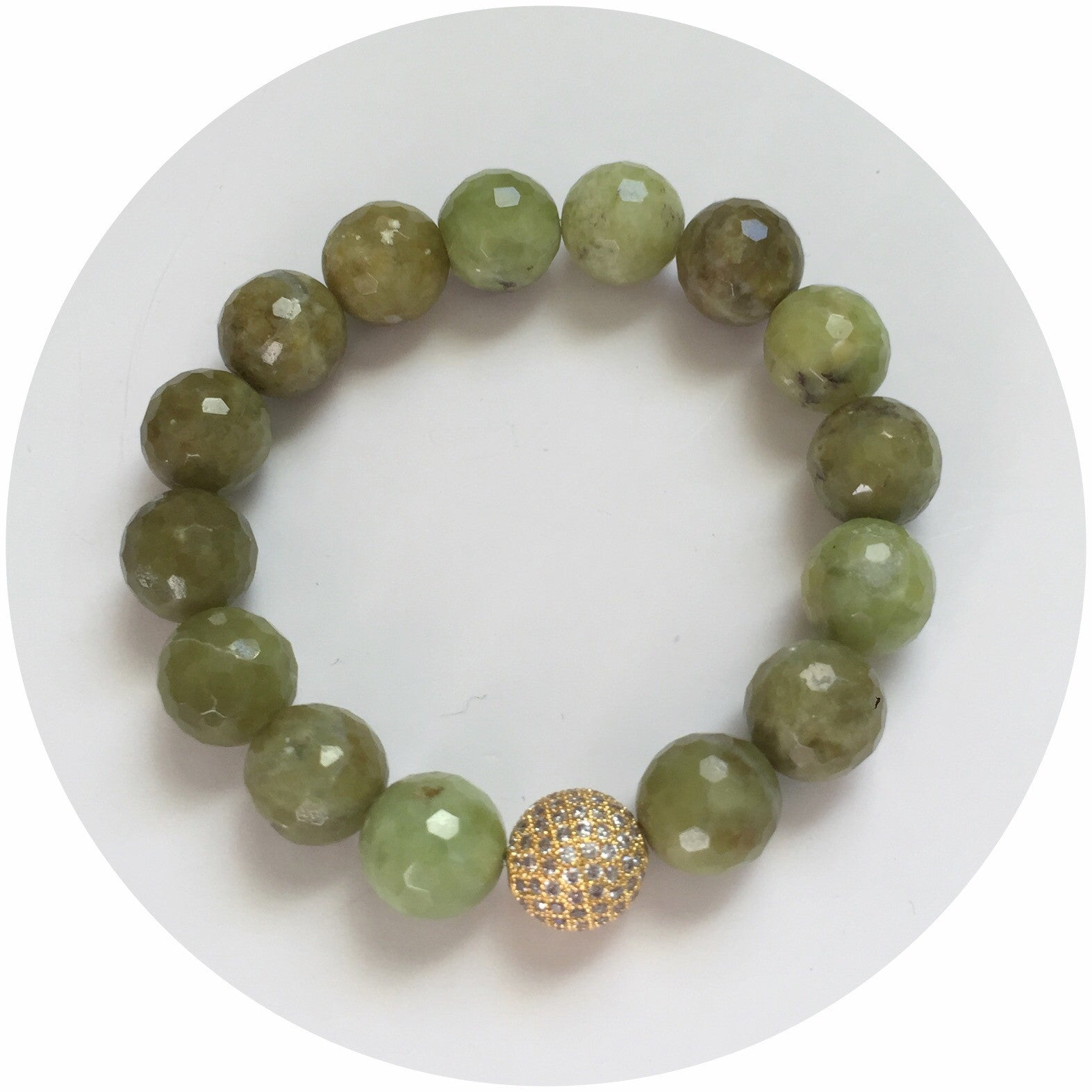 Green Garnet with Micro Pavé Gold - Oriana Lamarca LLC