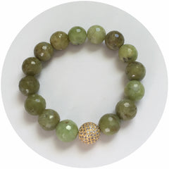 Green Garnet with CZ Micro Pavé Gold Accent - Oriana Lamarca LLC