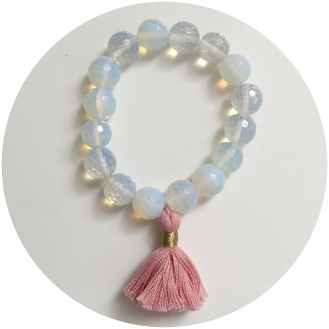 Opalite with Coral Tassel