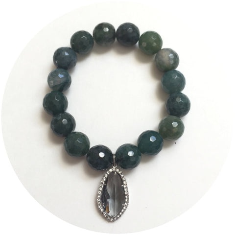 Moss Green Jade with Pavé Grey Glass Pendant