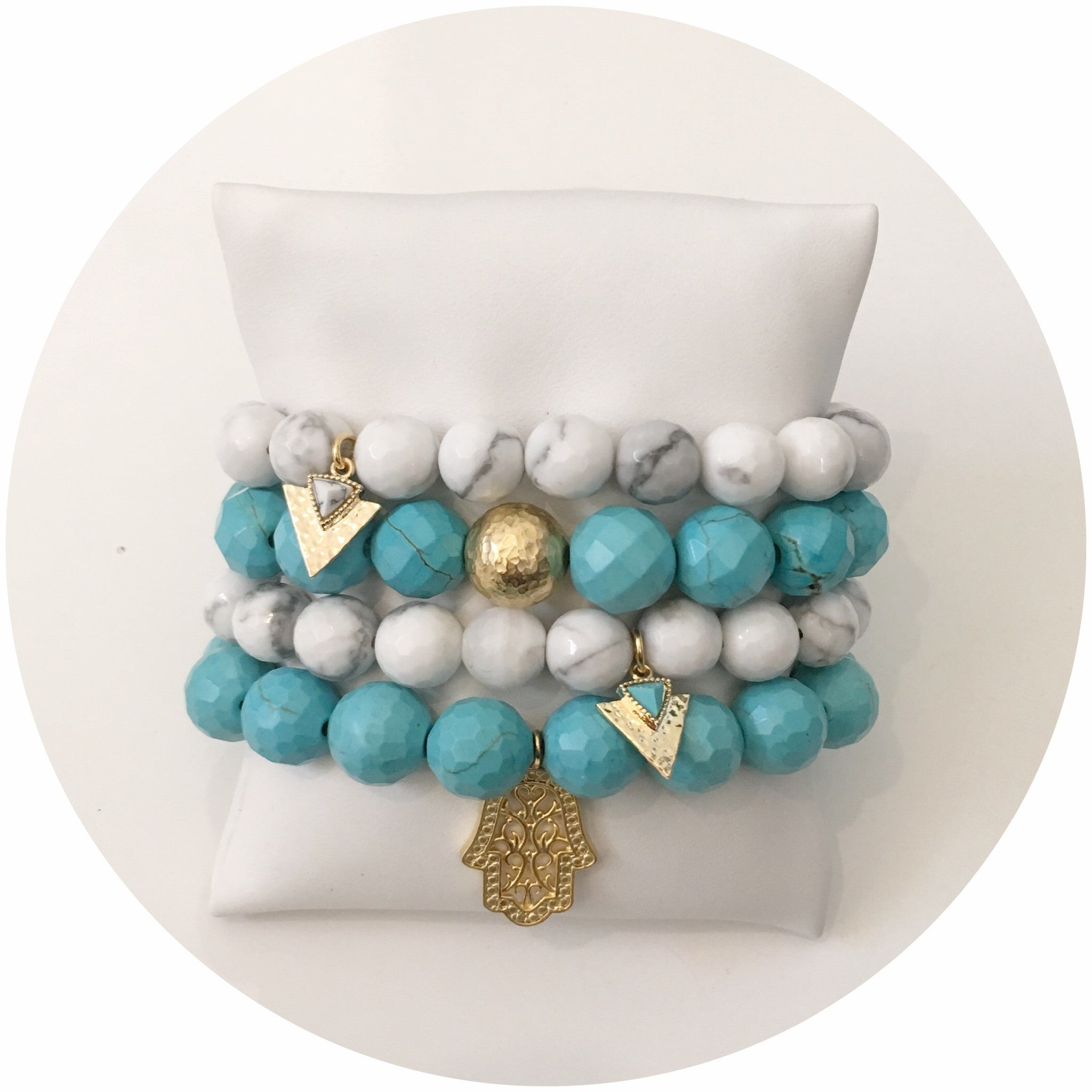 Light Turquoise Magnesite with Hammered Gold Accent - Oriana Lamarca LLC