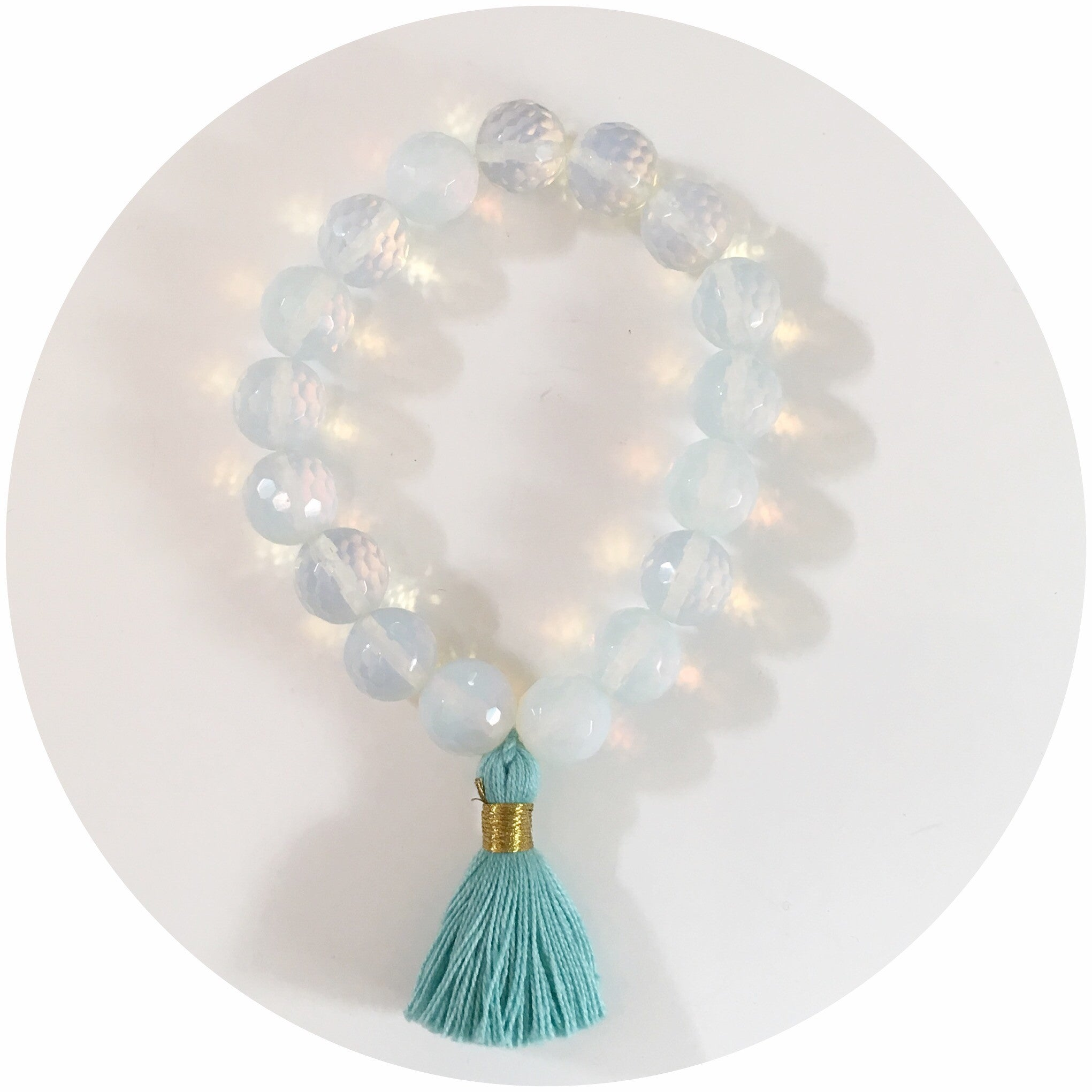 Opalite with Mint Tassel - Oriana Lamarca LLC