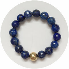 Lapis with Hammered Gold Accent - Oriana Lamarca LLC
