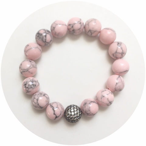 Light Pink Howlite with CZ Micro Pavé Gunmetal Accent