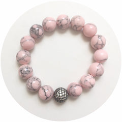 Light Pink Howlite with CZ Micro Pavé Gunmetal Accent - Oriana Lamarca LLC