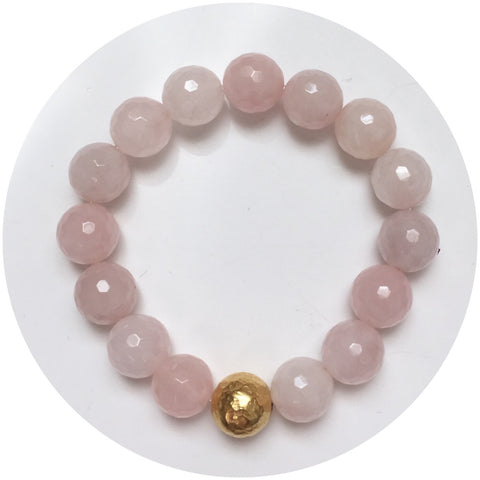 Rose Quartz with Hammered Gold Accent