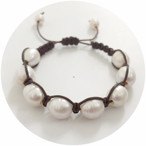 Natural Leather with Freshwater Pearl Shamballa Bracelet