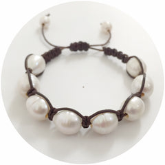 Natural Leather with Freshwater Pearl Shamballa Bracelet - Oriana Lamarca LLC