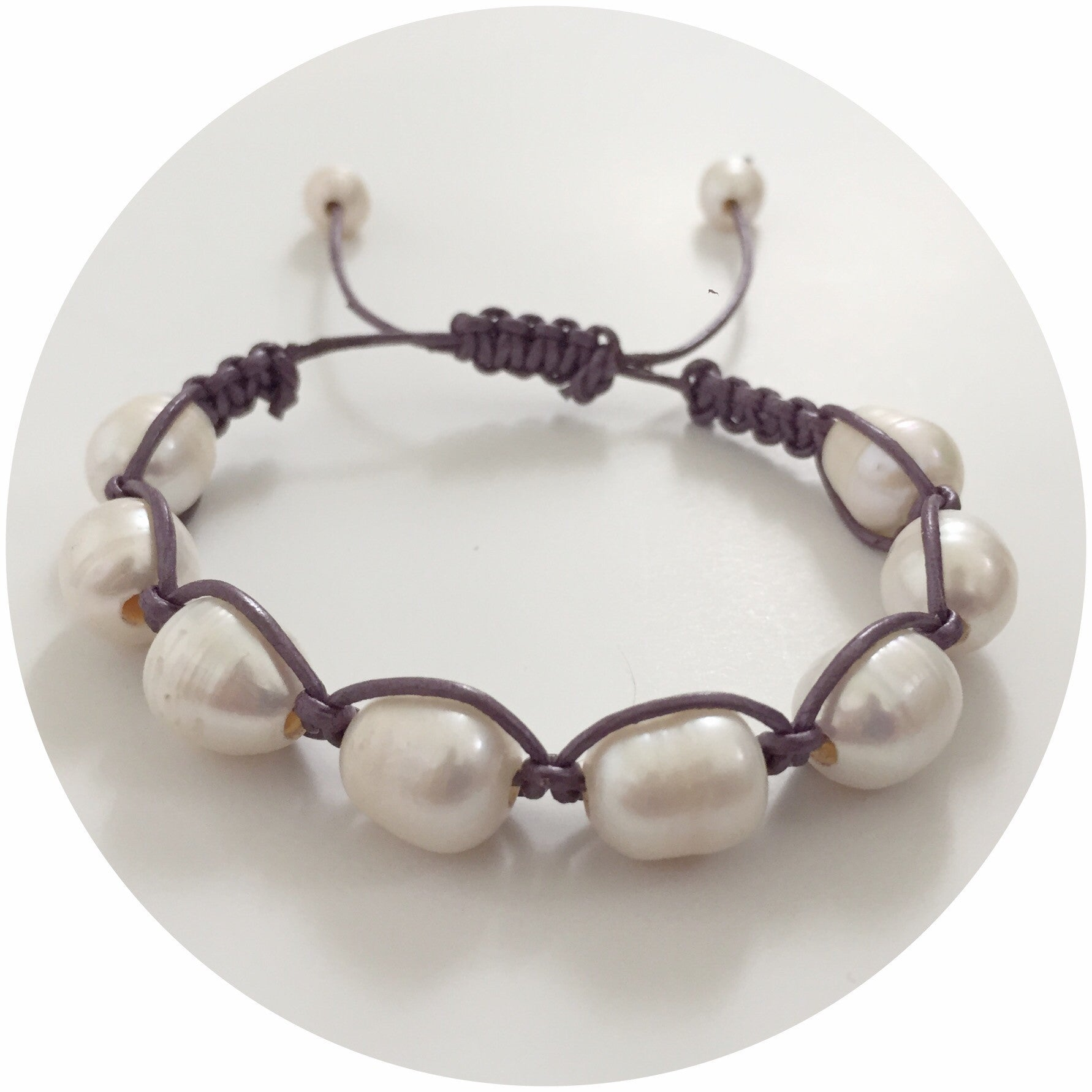 Purple Metallic Leather with Freshwater Pearl Shamballa Bracelet - Oriana Lamarca LLC