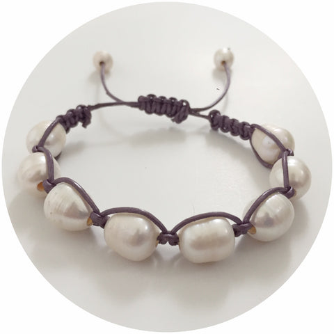 Purple Metallic Leather with Freshwater Pearl Shamballa Bracelet