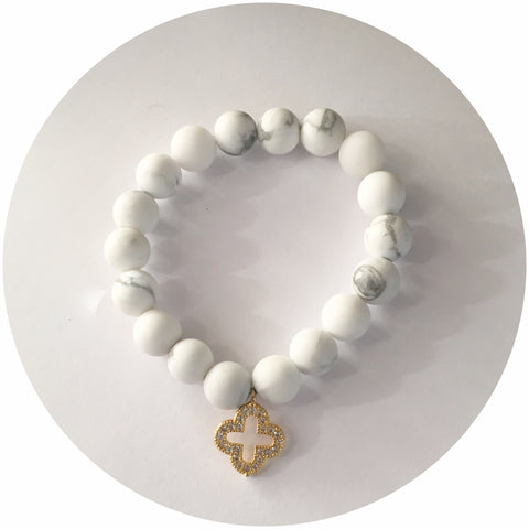 Mini White Howlite with Gold Pavé Clover Pendant *For NewBorns*