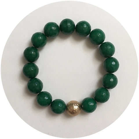Emerald Green Jade with Hammered Gold Accent