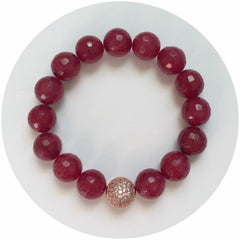 Marsala Jade with CZ Micro Pavé Rose Gold Accent - Oriana Lamarca LLC