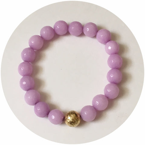 Lavender Jade with Hammered Gold Accent