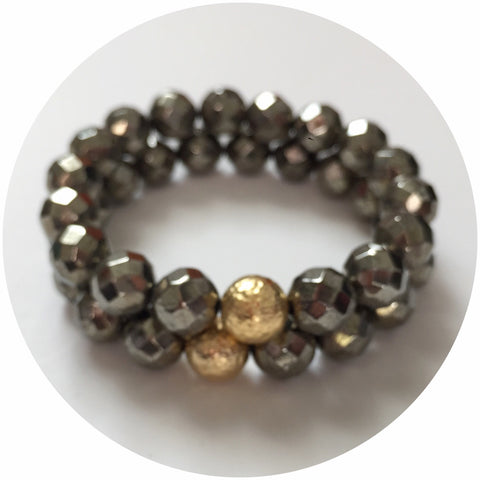 Pyrite with Hammered Gold Accent