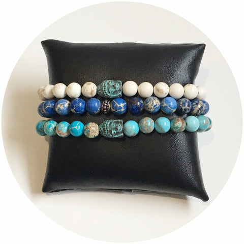 Mens White Magnesite with Verdigris Buddha