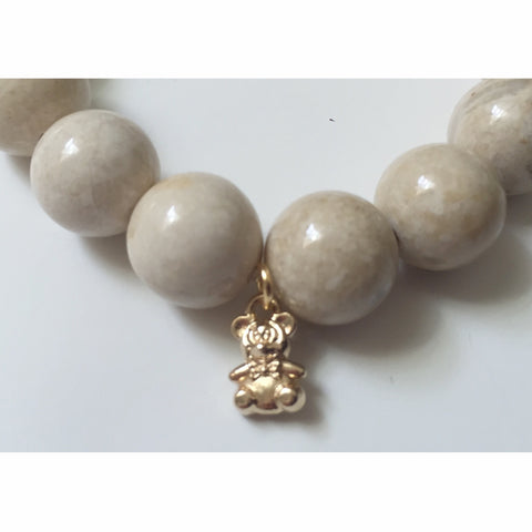 Beige Riverstone with Gold Gummy Bear Pendant
