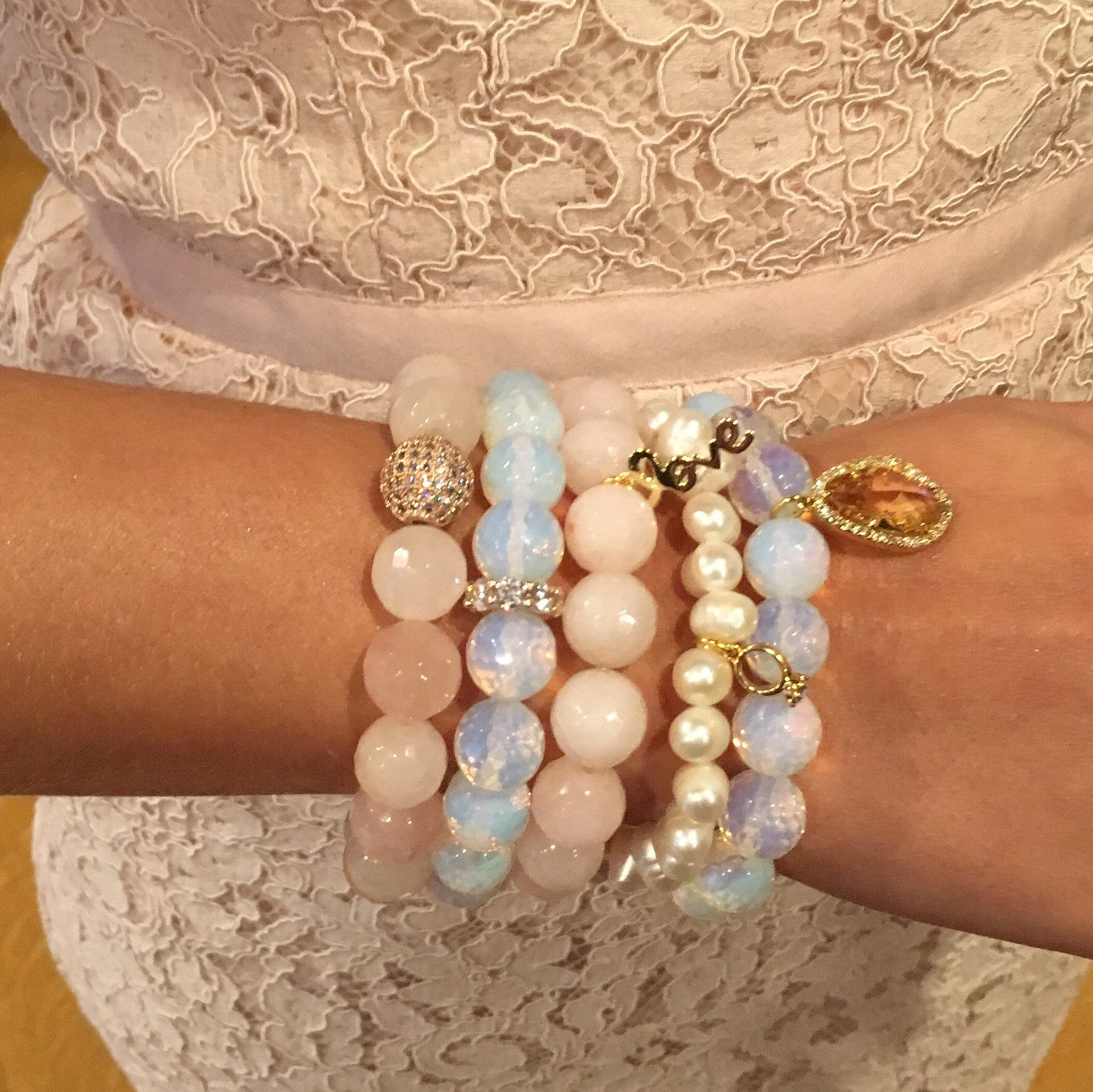 Opalite with with Pavé Rose Gold Accent - Oriana Lamarca LLC
