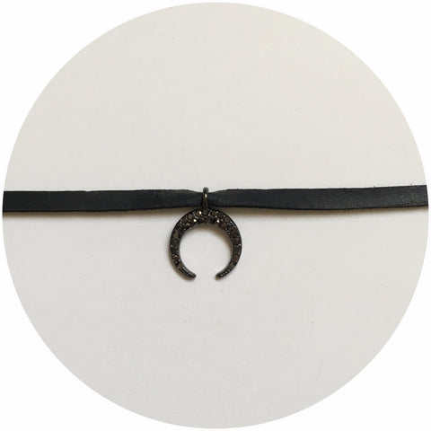 Pavé Crescent Moon with Black Leather Choker