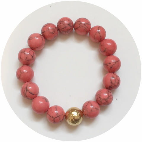 Coral Pink Howlite with Hammered Gold Accent