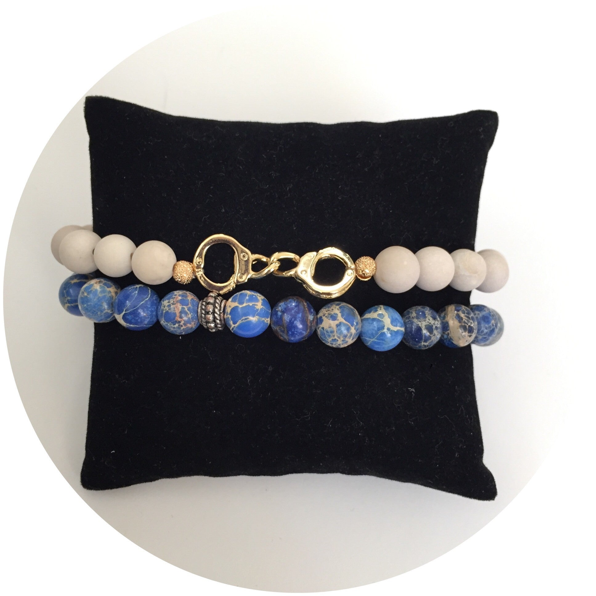 Mens Blue Imperial Jasper with Antique Silver Accent - Oriana Lamarca LLC