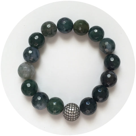 Moss Green Jade with Gunmetal Pavé Accent