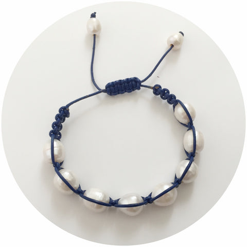 Dark Blue Leather with Freshwater Pearl Shamballa Bracelet