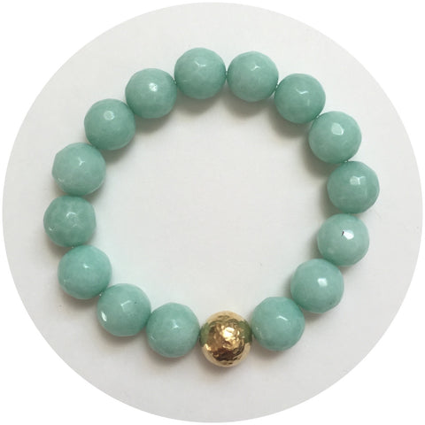 Sea Foam Jade with Hammered Gold Accent