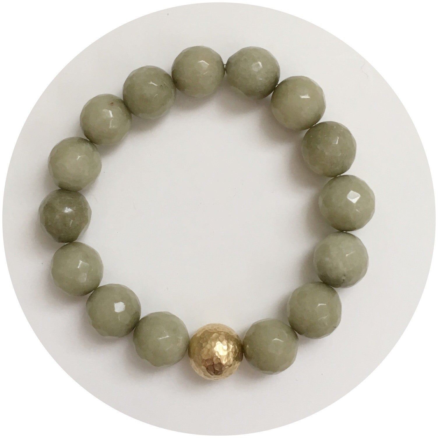 Pistachio Jade with Hammered Gold Accent - Oriana Lamarca LLC