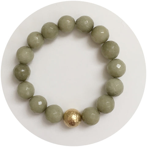 Pistachio Jade with Hammered Gold Accent
