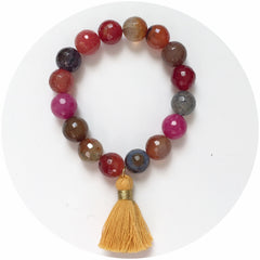 Multicolor Agate with Buttercup Tassel - Oriana Lamarca LLC