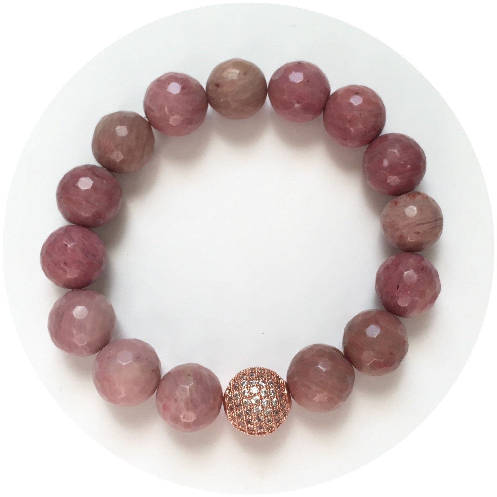 Rhodonite with Pavé Rose Gold Accent - Oriana Lamarca LLC