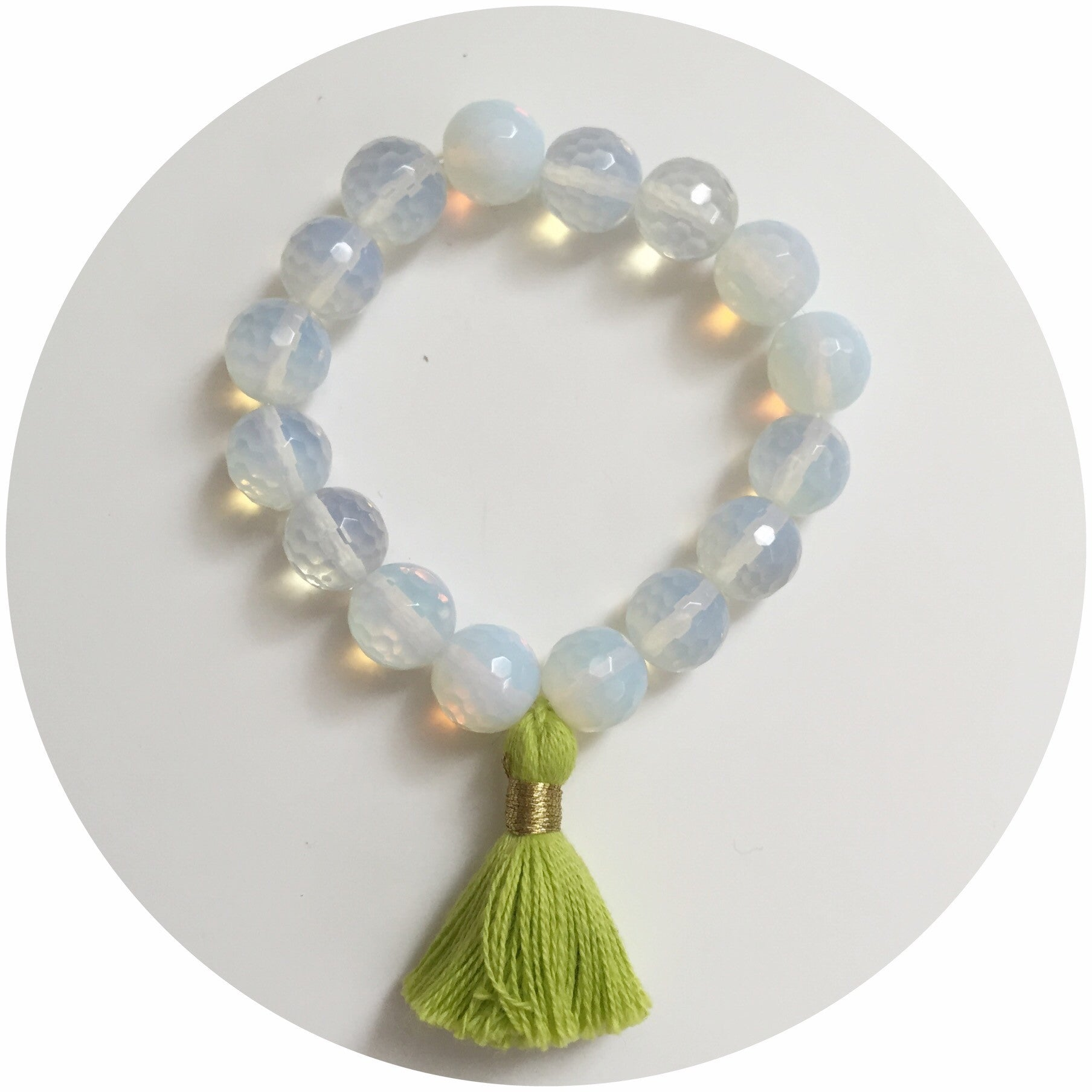 Opalite with Lime Green Tassel - Oriana Lamarca LLC