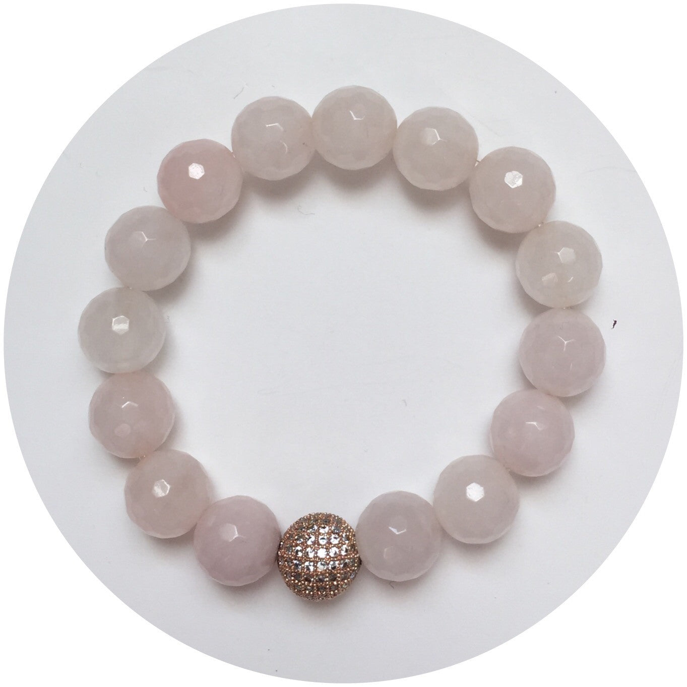 Rose Quartz with CZ Micro Pavé Rose Gold Accent - Oriana Lamarca LLC