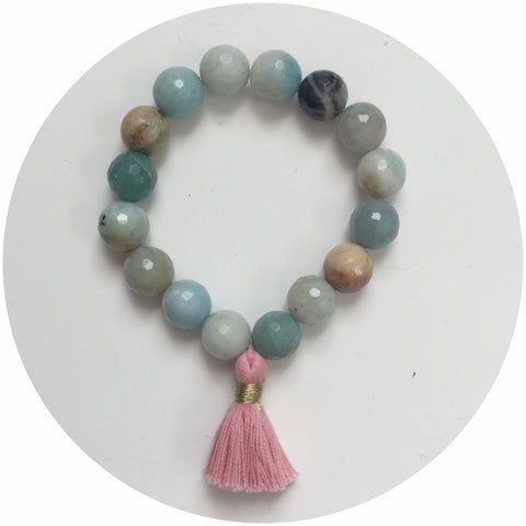 Amazonite with Coral Tassel