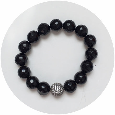 Black Onyx with CZ Micro Pavé Gunmetal Accent