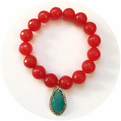 Fire Jade with Pavé Aqua Glass Pendant - Oriana Lamarca LLC