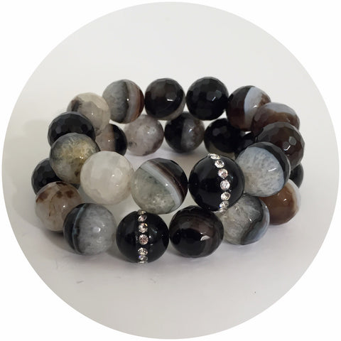 Black Quartz Agate with Black Onyx CZ Stripe