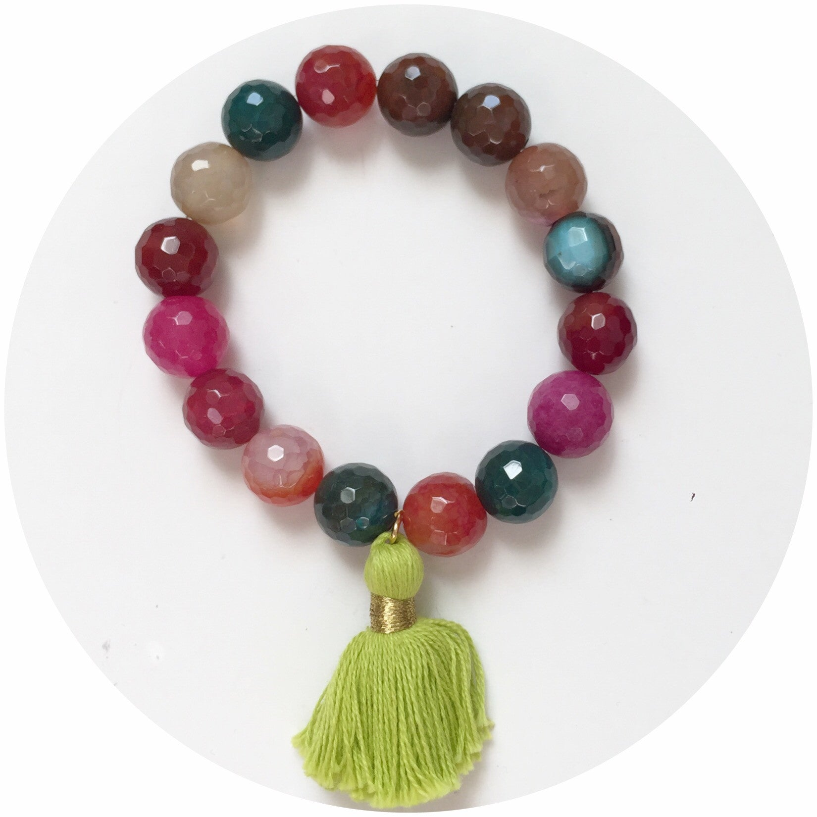 Multicolor Agate with Lime Green Tassel - Oriana Lamarca LLC