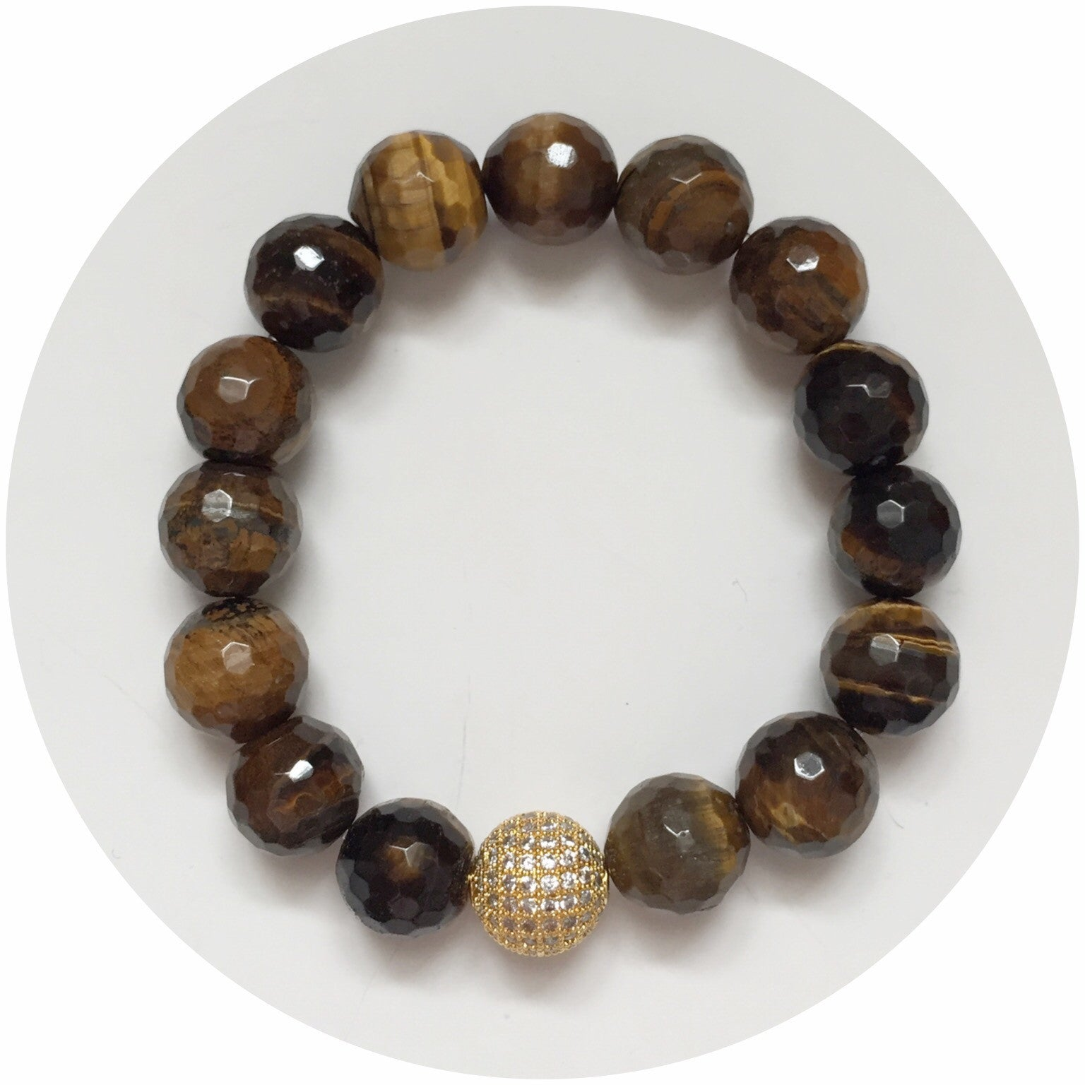 Tiger Eye with Gold CZ Micro Pavé Bead - Oriana Lamarca LLC