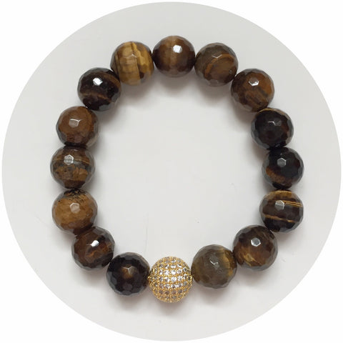 Tiger Eye with Gold CZ Micro Pavé Bead