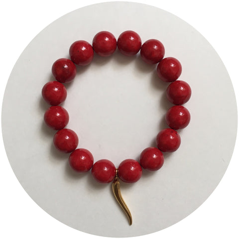 Red Riverstone with Gold Horn Cornicello Pendant