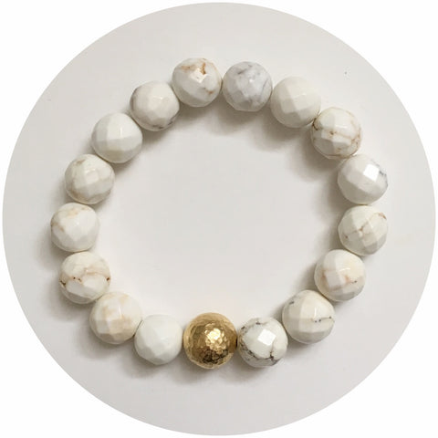 White Magnesite with Hammered Gold Accent