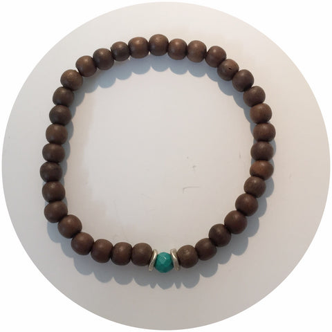 Mens Tibetan Wood with Turquoise Accent