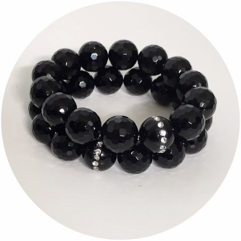 Black Onyx with Swarovski Crystals