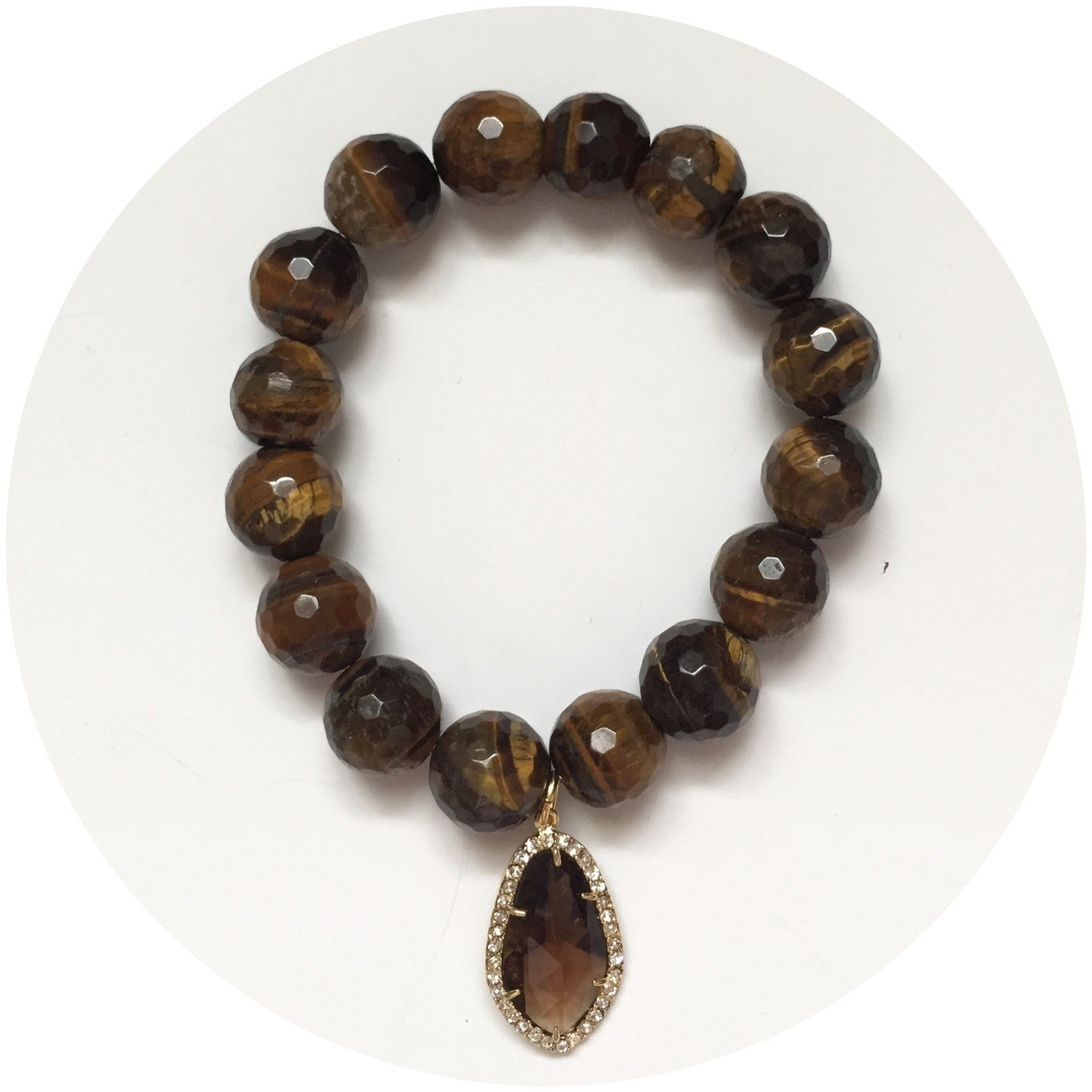 Tiger Eye with Pavé Topaz Glass Pendant - Oriana Lamarca LLC