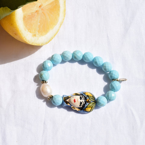 Light Turquoise Magnesite with Testa Di Moro