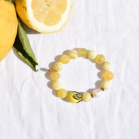 Yellow agate with Handpainted Lemon
